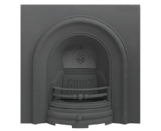 Decorative Arched Cast-iron Fireplace Insert Black